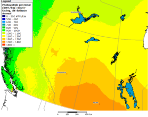National Resources Canada - Solar Irradiation Map