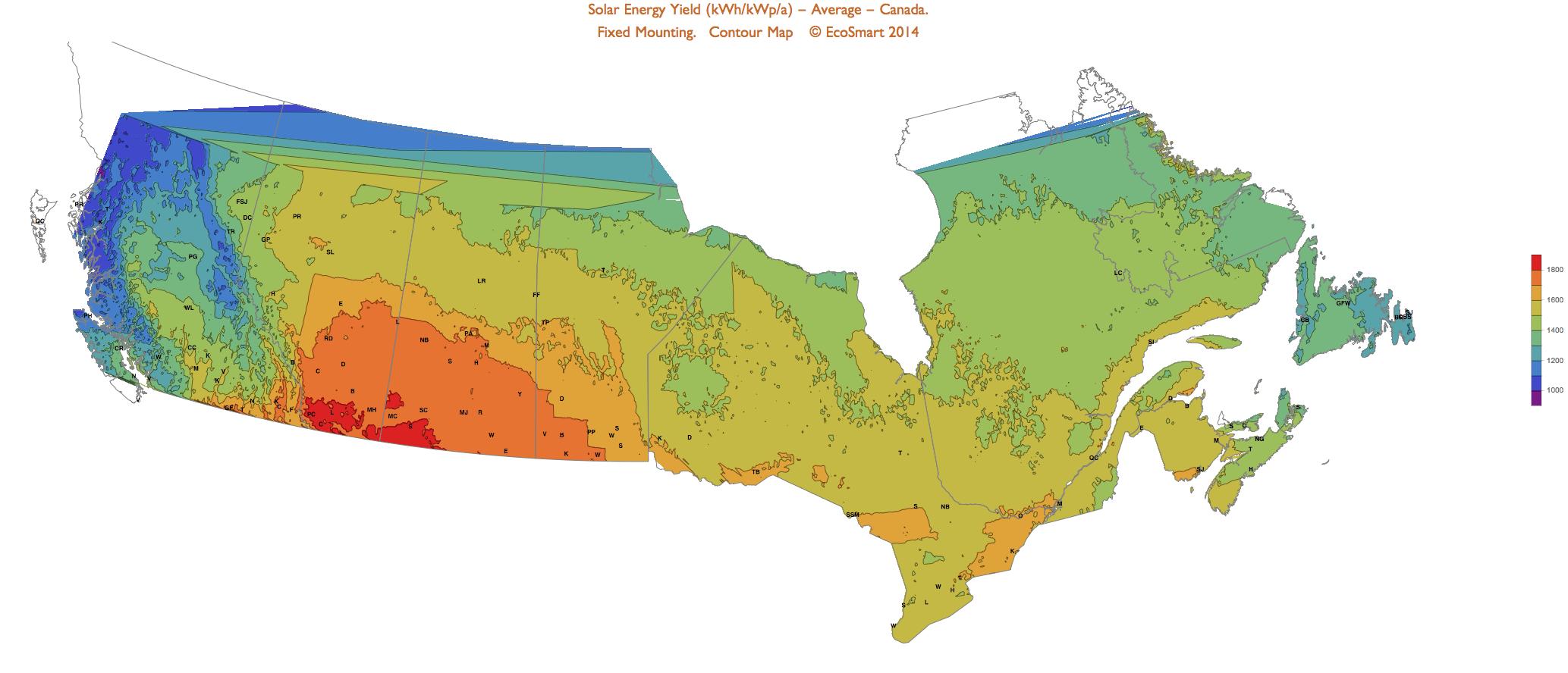 Solar Resources Canada Map - Annual Average Irradiation