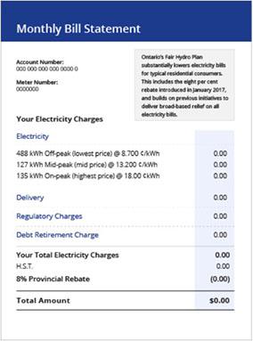 Ontario Electricity Bill