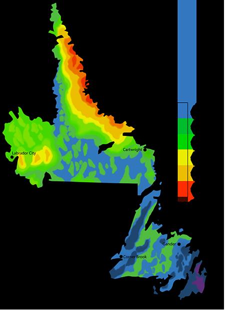 Solar Power Map Newfoundland and Labrador