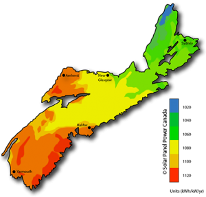 Solar Power Map Nova Scotia