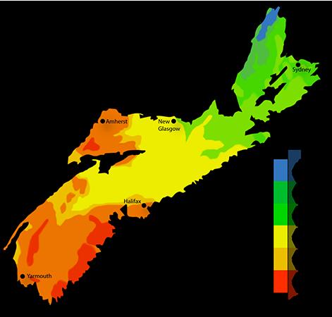 Map Of Canada Nova Scotia.Solar Power Map Nova Scotia Solar Panel Power Canada