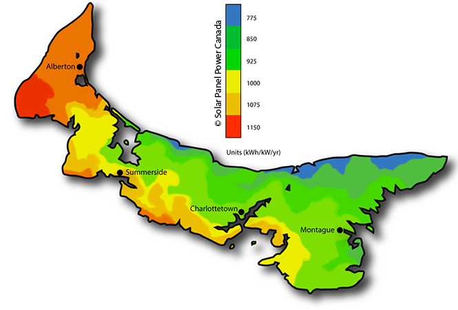 Solar Power Map Prince Edward Island