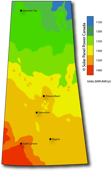Solar Power Map Saskatchewan