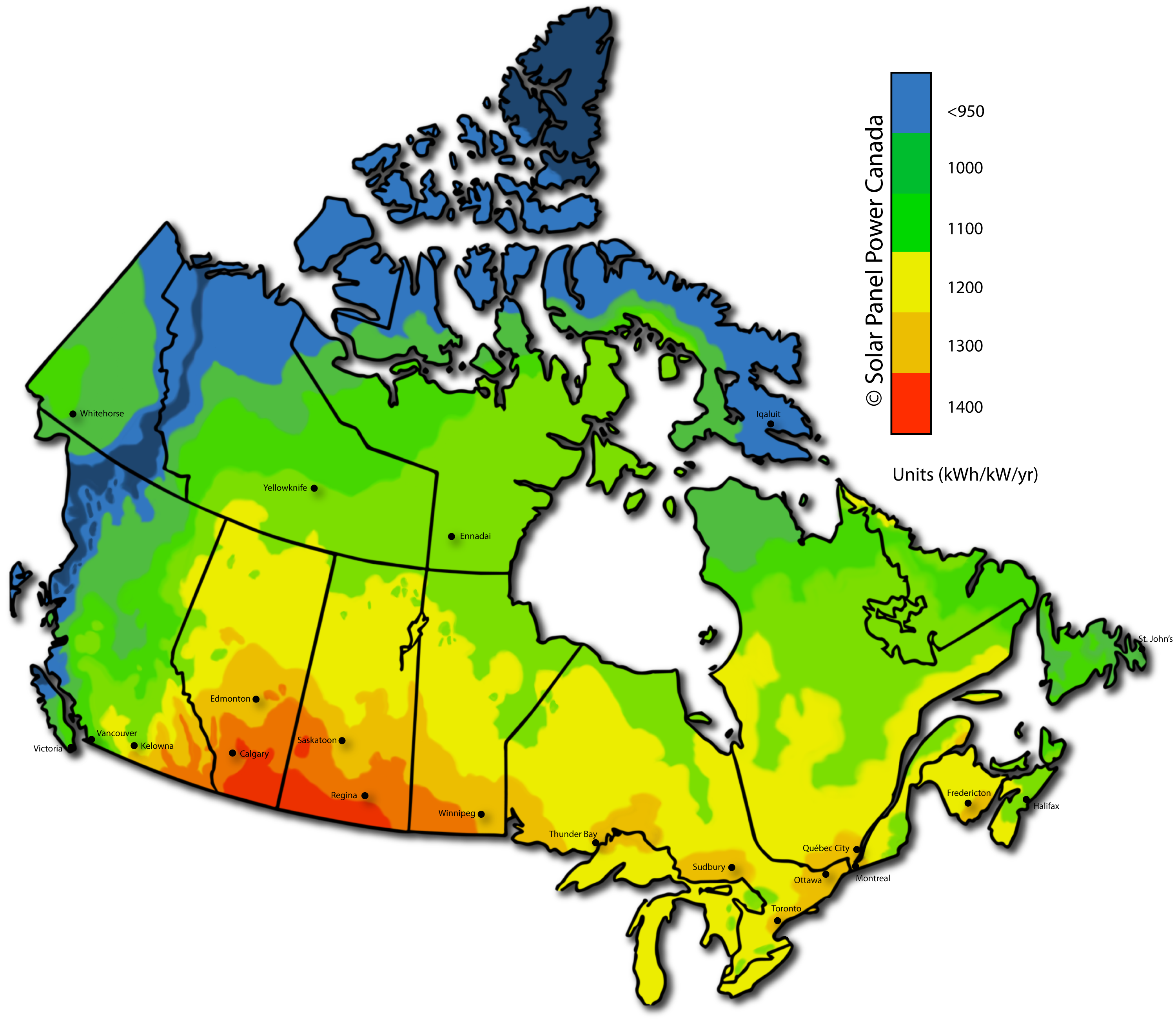 annual average energy production potential for a solar panels in canada measured in kwhkwyr full size map